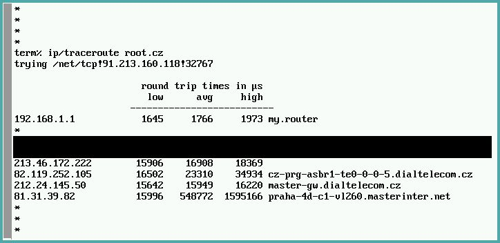 Plan 9 `ip/traceroute root.cz`