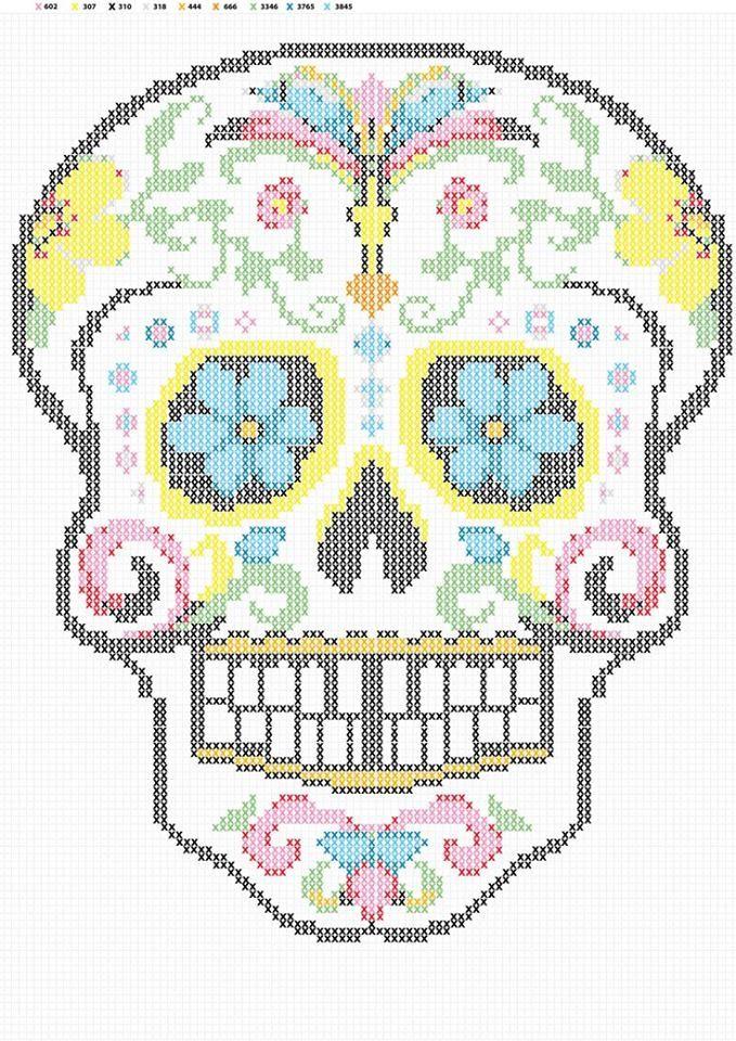 Patrón calavera mejicana en punto de cruz | DIY | Pinterest | Cross ...