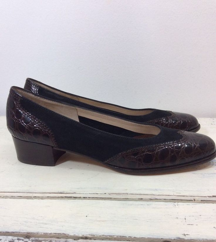 Salvatore Ferragamo Designer Heels Brown Black Leather 1 034 Heel Made in Italy | eBay