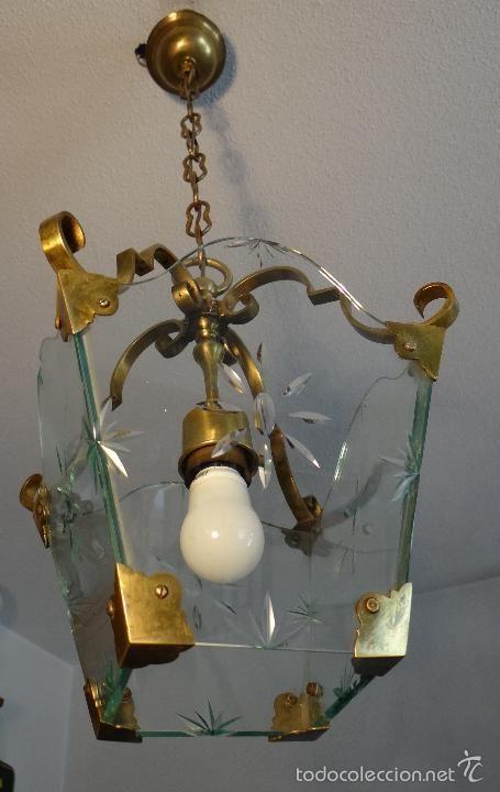 Antigua lampara farol de bronce laton y cristal tallado - Venta de lamparas antiguas ...
