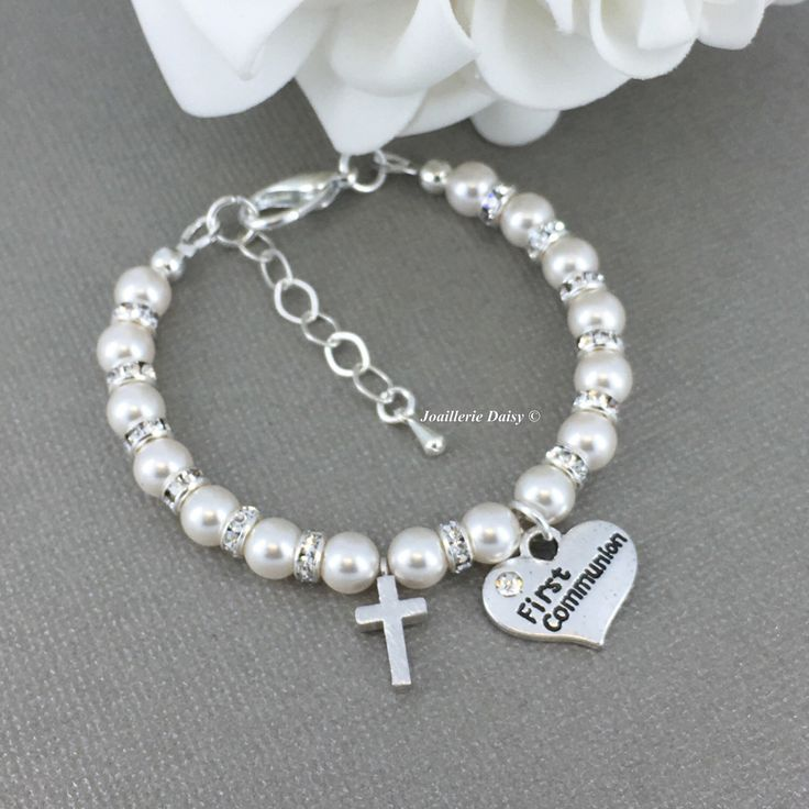 First Communion Gift, Cross Charm Bracelet, Girl First Communion Gift, Pearl Bracelet, First Communion Jewelry, Swarovski Bracelet, Jewelry by dcjoaillerie on Etsy https://www.etsy.com/ca/listing/491961264/first-communion-gift-cross-charm