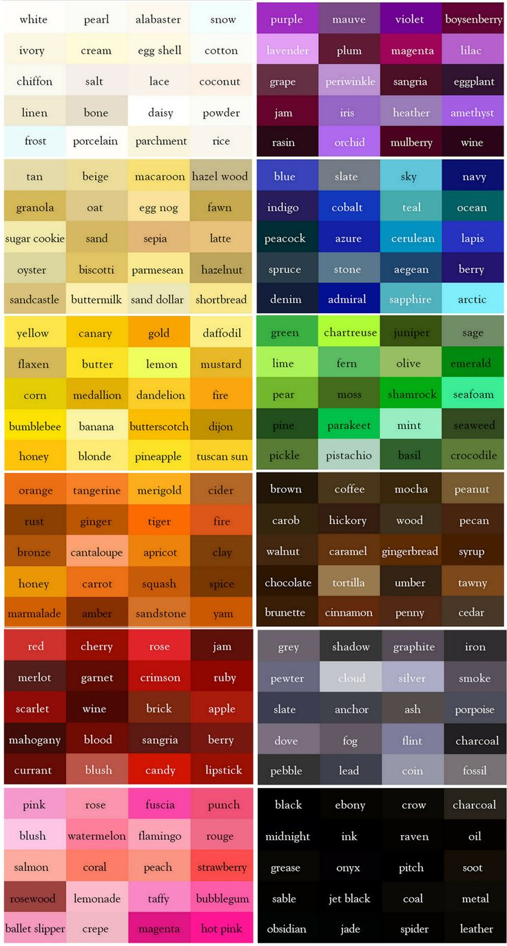 the color thesaurus for writers and designers from ingrids notes the color blocks represent white