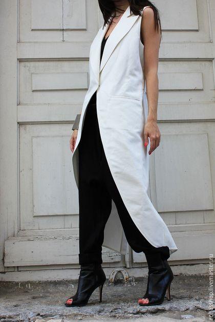 White tail-coat / Стильный кардиган белый фрак летний кардиган летнее пальто без рукавов белое пальто стильное пальто кардиган длинный на лето белая одежда джинсовая одежда