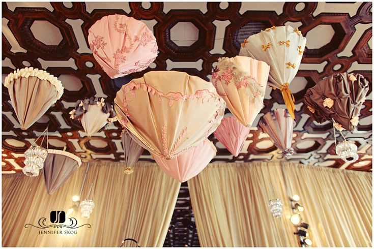 Lush umbrellas hanging from the ceiling!