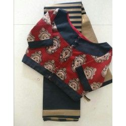 Glossy cotton silk saree with ready to wear kalamkari blouse