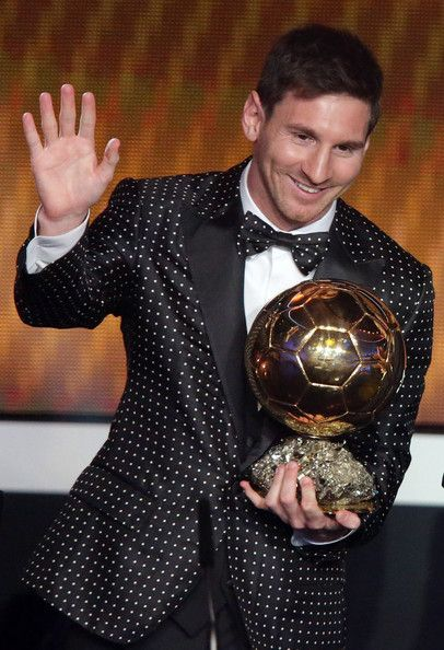 Spot on? Or more like spots on? Lionel Messi wearing custom made Dolce & Gabbana at FIFA Ballon dOr Gala 2012