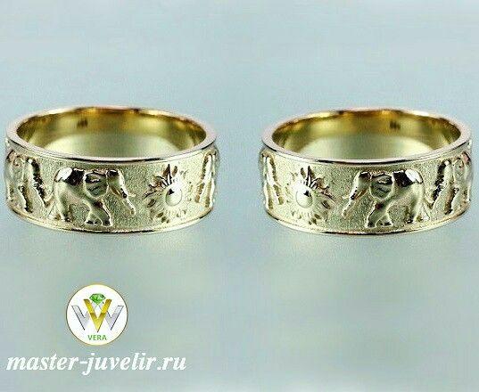 Обручальные кольца со слонами и солнцем. Артикул Обр1045, золото 585 пробы, ширина 7 мм, вес 13 гр/пара.