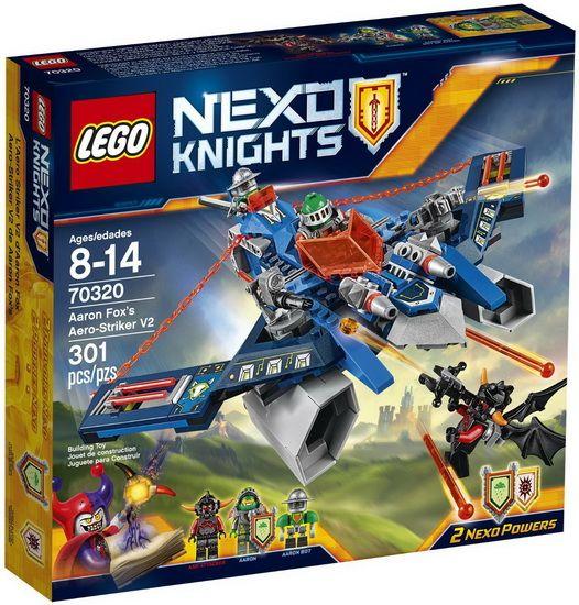 Plonge dans le monde futuriste de LEGO® NEXO KNIGHTS? avec le redoutable Aero Striker V2, et transforme-toi en Aaron Fox en utilisant le planeur 2-en-1 comme arbalète ! Joue à des jeux de rôle de combat contre les monstres de lave. Utilise la gâchette pour tirer avec les doubles fusils à ressorts. Puis fais s'affronter Aaron et l'Attaquant des cendres et tire avec l'arbalète, ou éjecte le chevalier dans son planeur en forme de flèche et laisse l'écuyer robot d'Aaron prendre le contrôle…