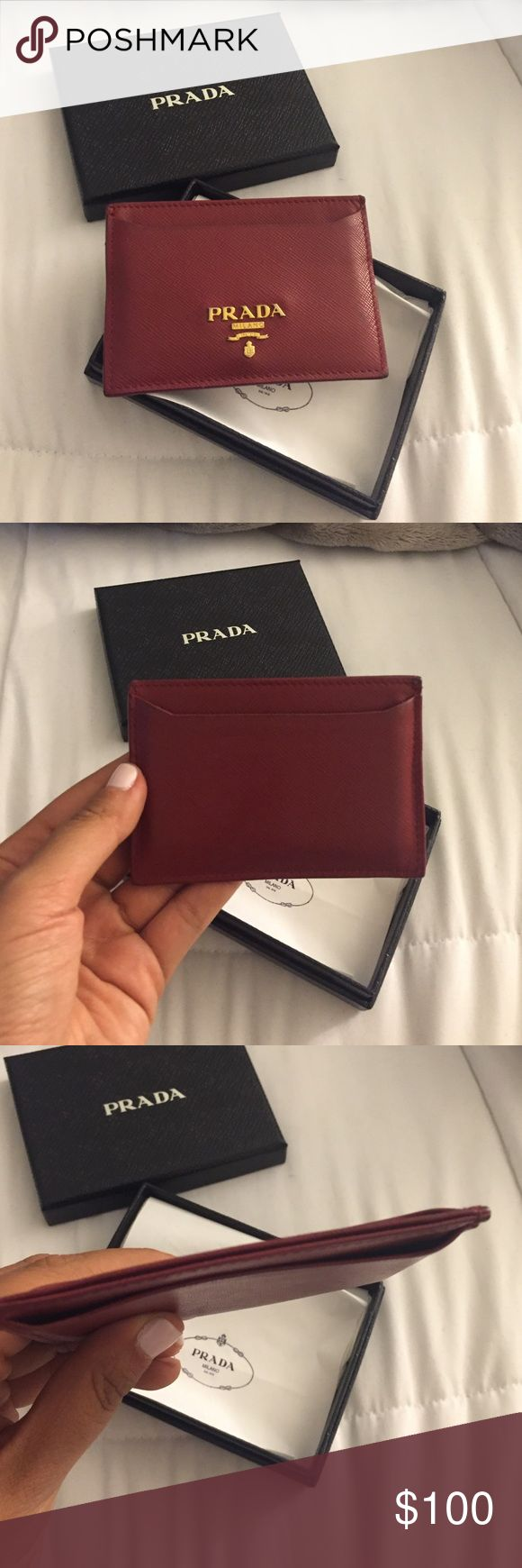 Prada Card Case Used but in excellent condition! Comes with box and bag!! Perfect card holder Prada Accessories Key & Card Holders