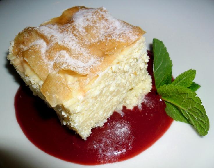 """Vargabéles"" with wild strawberry sauce"
