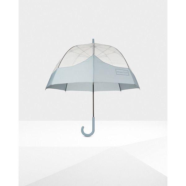 Hunter Original moustache bubble umbrella ($55) ❤ liked on Polyvore featuring accessories, umbrellas, porcelain blue, transparent umbrella, blue umbrella, see through umbrella and bubble umbrella