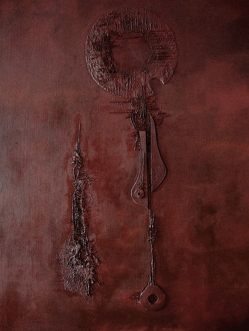 ČASOPRÁZDNO – ZHMOTNĚNÍ NEHMOTNÉHO  EMPTY TIME - MATERIALIZING THE INTANGIBLE - strukturální olejomalba, plátno kombinovaná technika - structural oil painting, canvas mixed media 60 x 80 cm