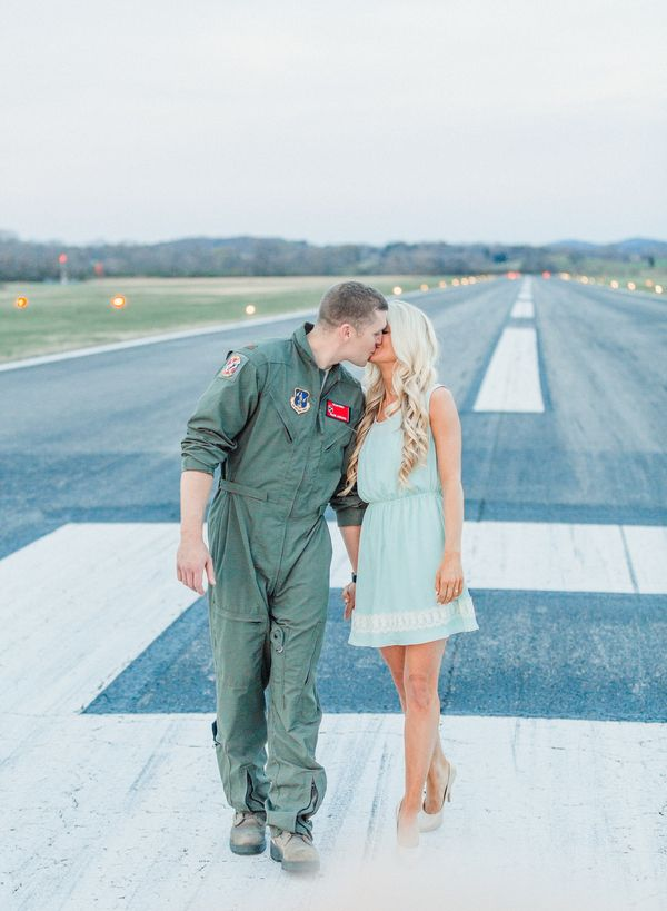 Airplane themed engagement photos in Knoxville, Tn by JoPhoto.