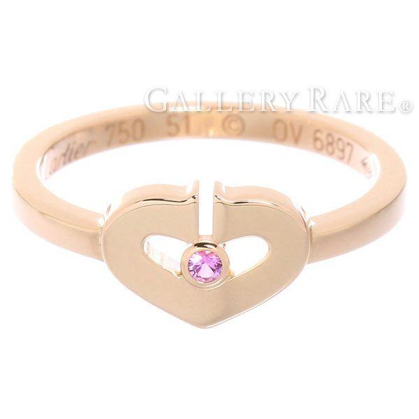 カルティエ リング Cハート 1Pサファイア サファイア K18PGピンクゴールド リングサイズ51 B4086751 Cartier 指輪 ジュエリー ダイアモンド