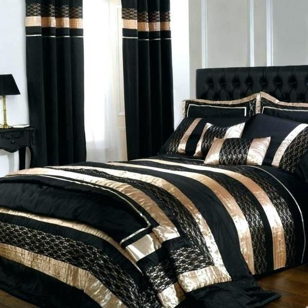 Black And Gold Duvet Cover And Matching Curtains Bedroom Design Ideas Black Bed Sheets B Modern Bedroom Interior White And Gold Bedding Black Gold Bedroom