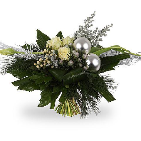 Kerst Boeket - Snowbells - Wit / Zilver - verkrijgbaar bij Boeketten.nl