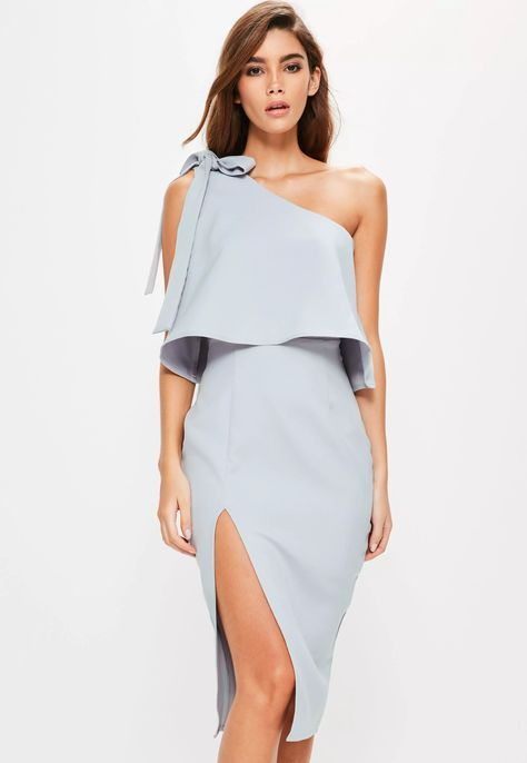 Elevate your evening game wearing this grey midi dress with powder blue undertones - featuring a one shoulder design, bow sleeves and midi length.