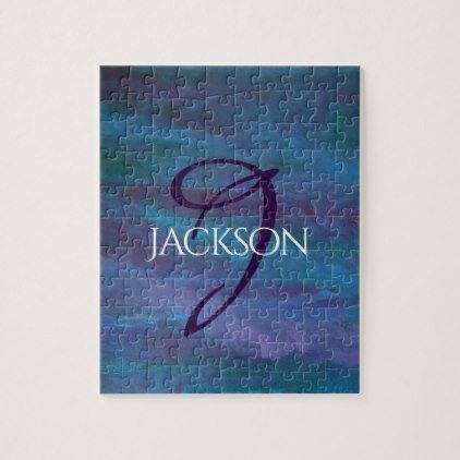 Energetic Play | Custom Ombre Blue Purple Teal | Jigsaw Puzzle - modern gifts cyo gift ideas personalize