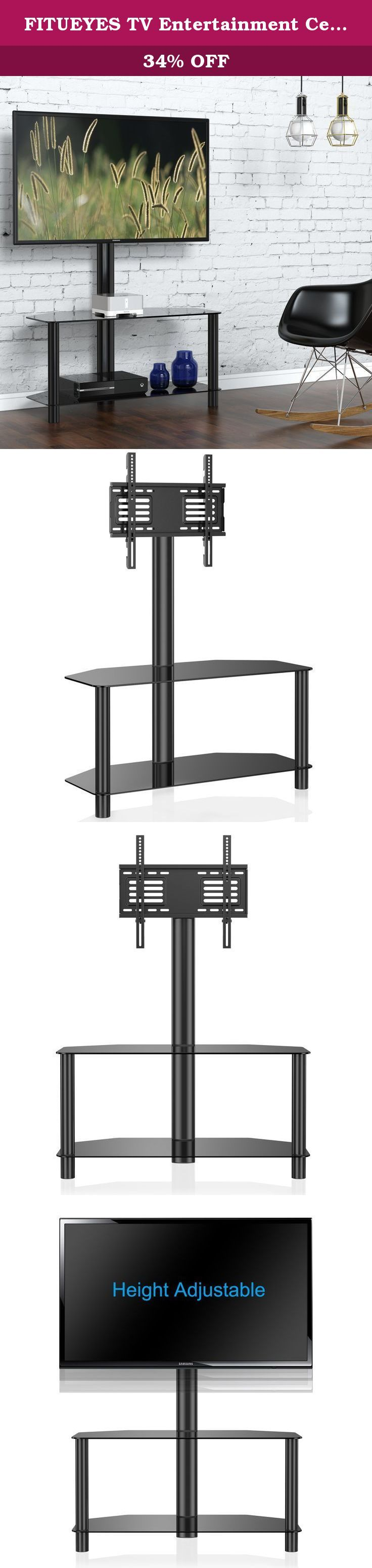 FITUEYES TV Entertainment Center Stand with Mount and Glass Shelves for Storage Fits 32-50inch TV,TW209001MB. Fitueyes TV mount and media component stand combo features two black silk tempered glass shelves with spacious shelving for all of your surround sound system components.Wall mounted TVs look great but offer no storage for audio-video components, whereas classic entertainment centers do not allow the TVs to be installed high up over the shelves.It is made from high-strength…