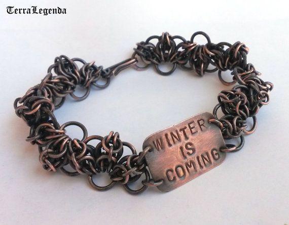Game of Thrones jewelry, Stark bracelet, 100% handmade chainmaille jewelry