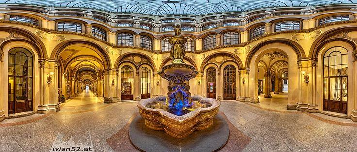 Basarhof im Palais Ferstel - Donaunixenbrunnen, Freyung, Herrengasse, 360° Panorama - 2017 Woche 44, 1010 Wien - Innere Stadt