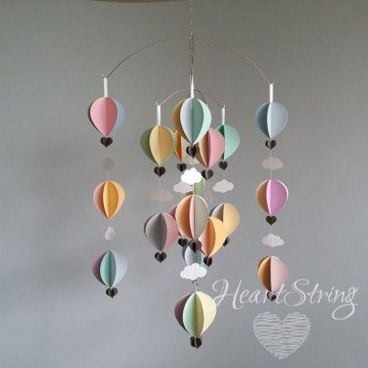 hot air balloon mobile for pastel nursery theme up up and away