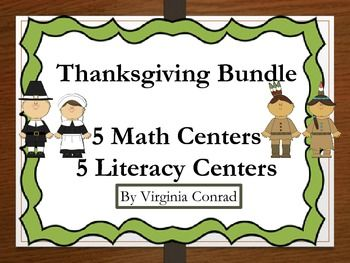 WOW! This is a great deal for you. I am celebrating Thanksgiving and how thankful I am to be a store owner on TpT. This bundle has 5 math and 5 literacy centers that are sold individually in my store for $19.25. I am offering this product for $10.00 a great savings for