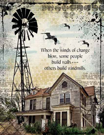 Winds of change by in Scrapartstudio gallery: love the windmill silhouette created for the page.