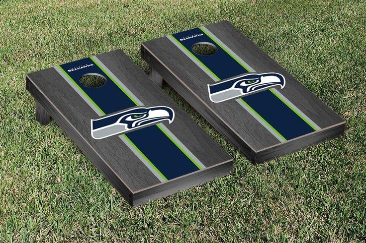 Seattle Seahawks NFL Football Cornhole Game Set Onyx Stained Stripe Version 2