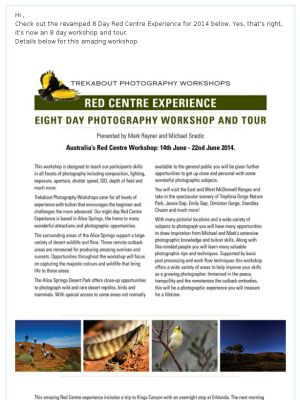 Check out the latest update for our Red Centre Photography Workshop and Tour