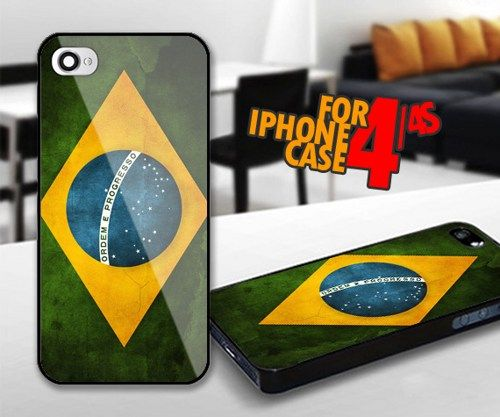 Brazil Flag for iPhone 4 / 4s Black case | iPhoneCustomCase - Accessories on ArtFire