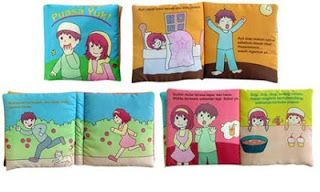 Judul: Puasa Yuk Ukuran tertutup : 15 x 15 cm Halaman: 6 hal isi + 2 hal sampul  Buku kain dengan gambar-gambar dan cerita sederhana untuk memperkenalkan si kecil pada konsep berpuasa.  Bukban ini cocok untuk anak mulai usia 2 tahun ke atas.
