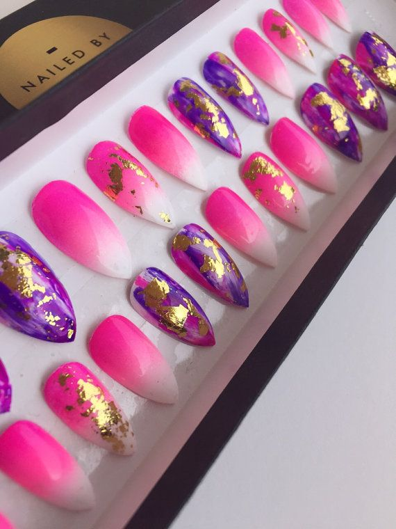 Pink Ombre Purple Stiletto Press On Nails  by NailedByCristy  Fake nails, false nails, glue on nails, Ombre nails, girly nails, nail foils, pink nails, nail art, Handpainted nails, stiletto nails, coffin nails, beauty, makeup, mua, makeup artist