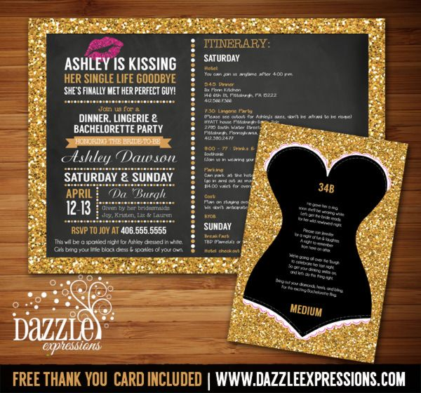 Printable Gold Glitter and Chalkboard Lingerie Bachelorette Party Invitation with Itinerary | Glitter Lingerie Sizes Insert Card | Chalkboard and Gold Sparkles Invite | Bride to be | Glitter Lips | Bachelorette Party Idea | Kissed Single Life Goodbye | www.dazzleexpressions.com