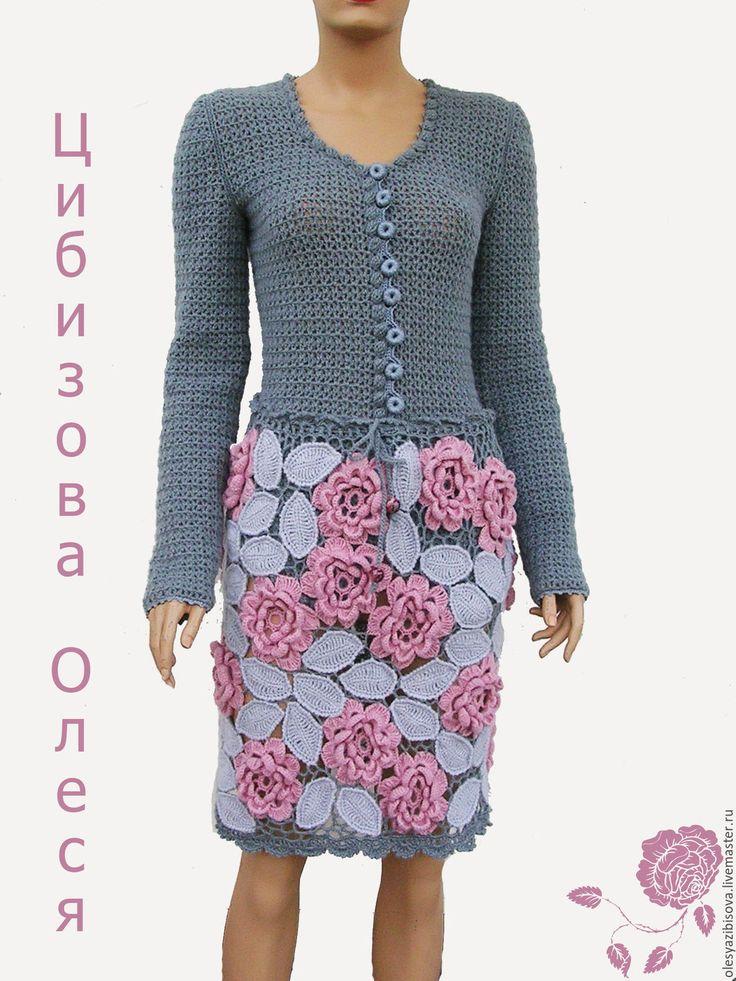 """Купить Вязаная юбка """"Pink LANUGO"""" - комбинированный, цветочный, юбка, вязаная юбка"""