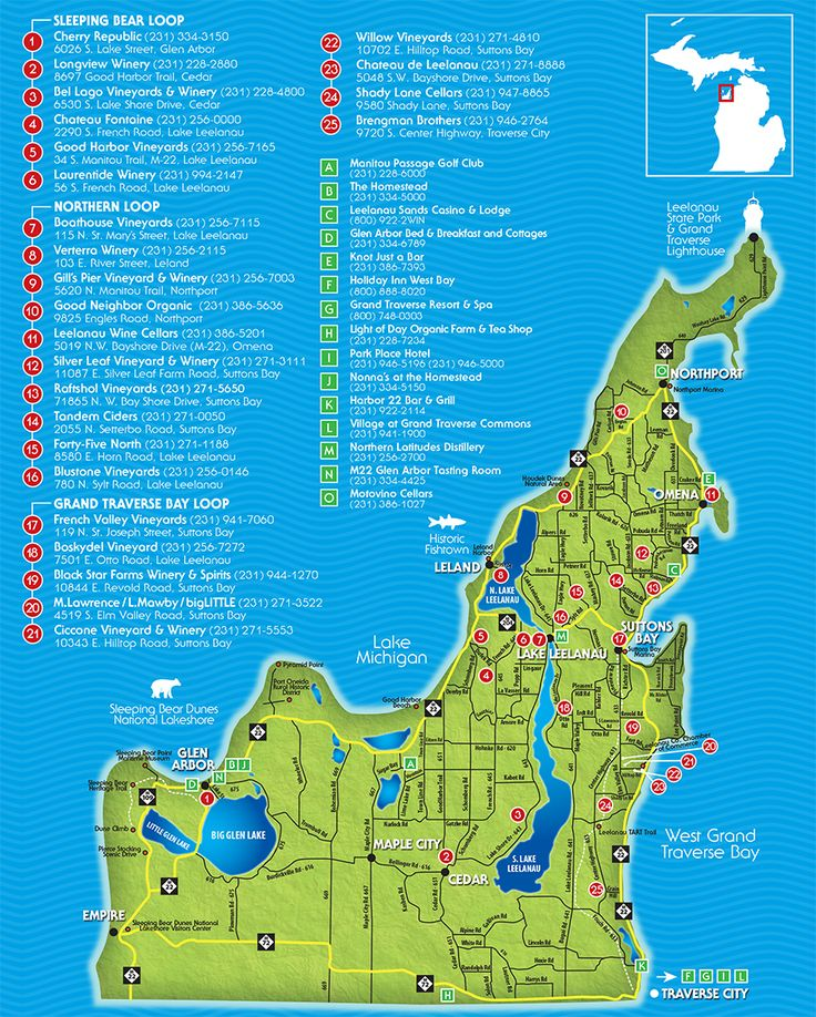 Traverse City Wine Trail Map | Leelanau Peninsula Wineries & Wine Trail