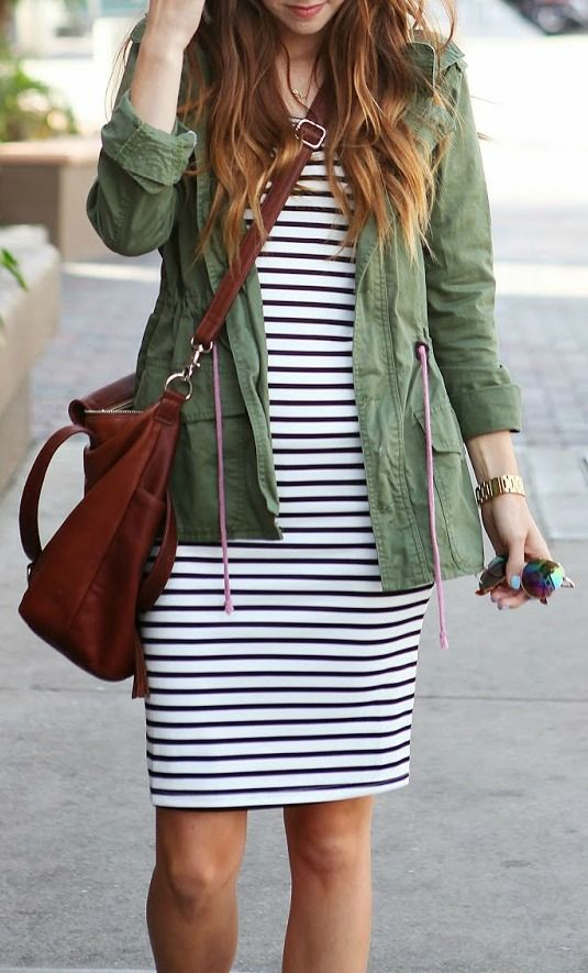 Striped Bodycon + Army Green Jacket