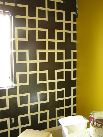 paint designs on walls with tape ideas seems like bunches and bunches of tape was used but the pattern they created cam