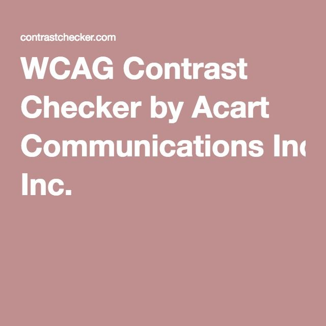 WCAG Contrast Checker by Acart Communications Inc.