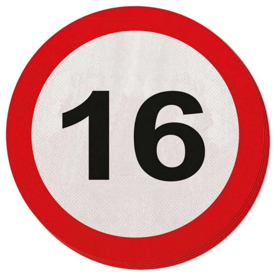 Servetten verkeersborden 16 jaar. Leeftijdsversiering servetten 16 jaar in de vorm van verkeersborden.