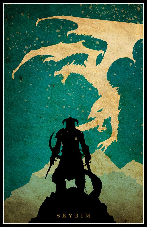 SKYRIM Minimalist Video Game Poster by posterexplosion on Etsy  silhouettes of favorite video game characters on dramatic backgrounds