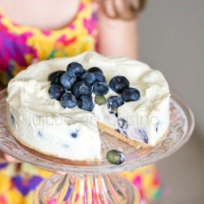 Cheesecake au chocolat blanc et myrtilles