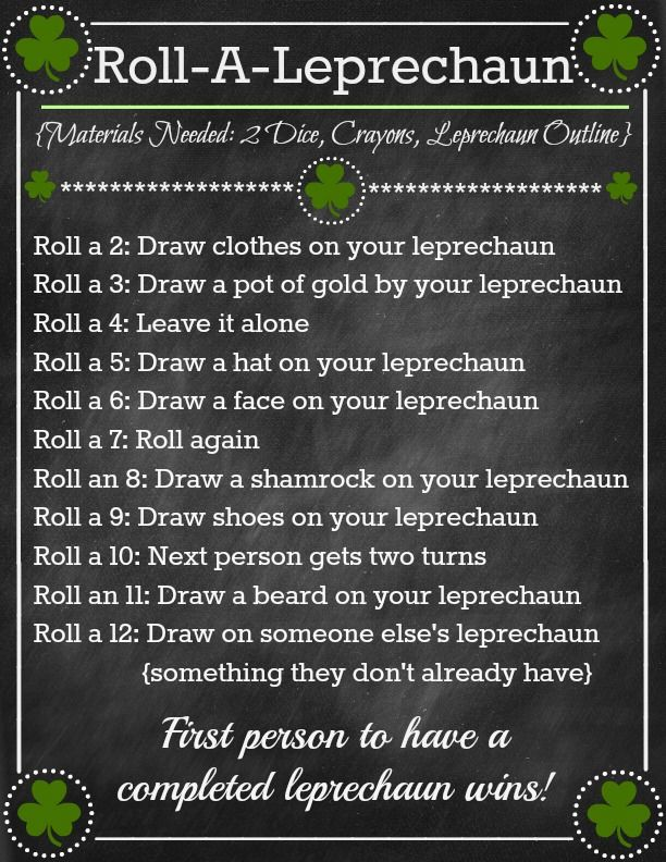 Or so she says...: Roll-A-Leprechaun Game ~ Fun St. Patricks Day Activity! (she: Brooke)