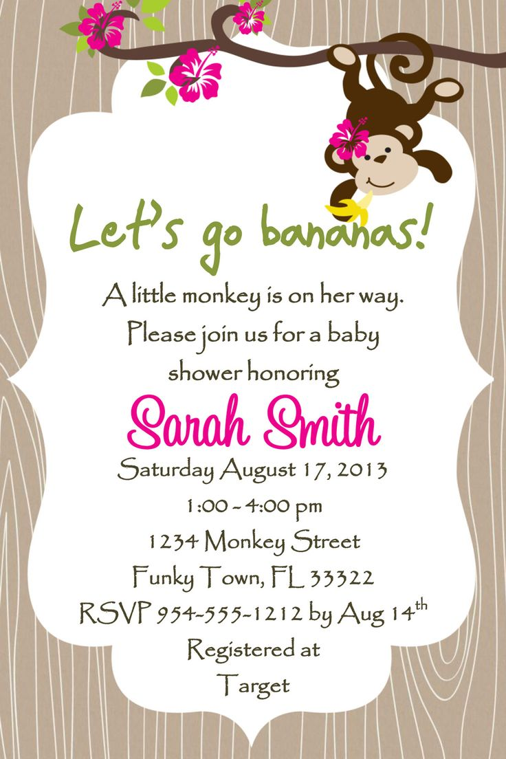 Monkey Baby Shower Invitation - Girl