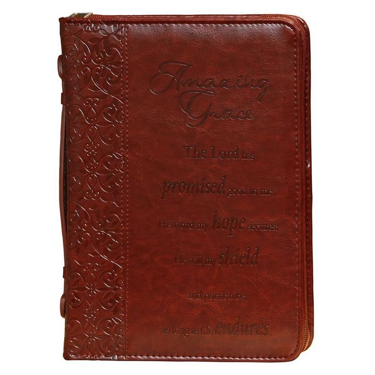 AMAZING GRACE - HOLY BIBLE / BOOK COVER - Large Zipper Cross Leather Organizer