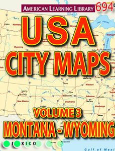 Digital book featuring maps of places in New York state, including details of New York City, Albany, and Buffalo