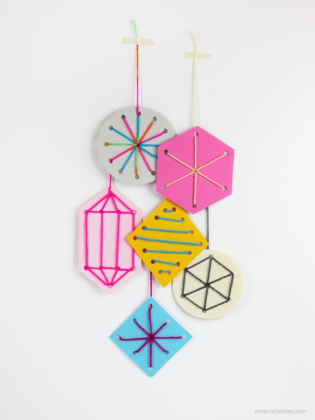 Easy sewing card templates for kids / DIY holiday ornaments