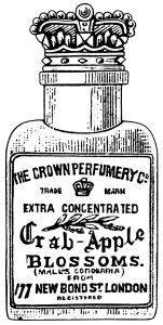 クラウン香水共同、カニのリンゴの花、ジャンクジャーナル印刷、ヴィンテージ香水クリップアート、黒と白のグラフィックス
