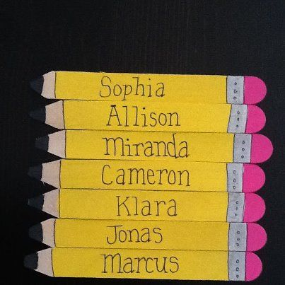 Magnetic pencil nametags made out of large popsicle sticks. I make these every year for my class. Great for keeping track of who has had a turn on the smartboard. Cut the end of the popsicle stick into a point. Paint with acrylic paints, write students names, spray with clear coat, and add magnet strip to back. Great keepsake for students at the end of the school year.