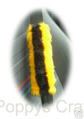 Bumble Bee car seatbelt pads covers black   gold yellow stripe print fluffy fuzzy furry faux fur 1 pair seat fun cute buzz